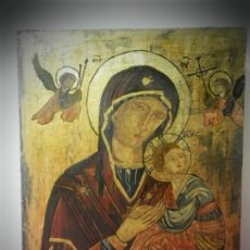 Arte: ICONO RUSO PINTADO A MANO SOBRE TABLA. VIRGEN Y NIÑO JESUS . ANGELES.TONOS DORADOS. Lote 195333915