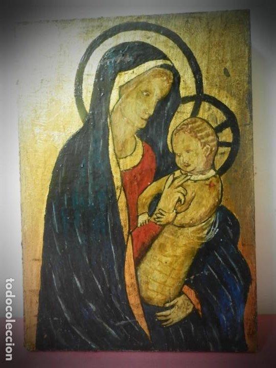 ICONO RUSO PINTADO A MANO SOBRE TABLA. VIRGEN Y NIÑO JESUS. TONOS DORADOS (Arte - Arte Religioso - Pintura Religiosa - Otros)