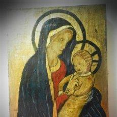 Arte: ICONO RUSO PINTADO A MANO SOBRE TABLA. VIRGEN Y NIÑO JESUS. TONOS DORADOS. Lote 195334283