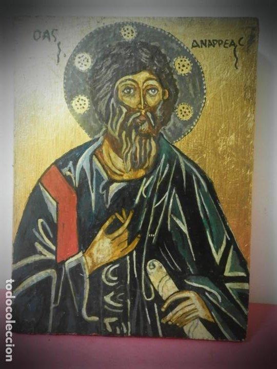 ICONO RUSO PINTADO A MANO SOBRE TABLA.TONOS DORADOS (Arte - Arte Religioso - Pintura Religiosa - Otros)