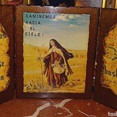 Arte: SANTA TERESA DE JESUS - TRIPTICO RELIGIOSO SOBRE MADERA - AÑOS 1940 CON LEYENDA DE SUS PALABRAS. Lote 195347512