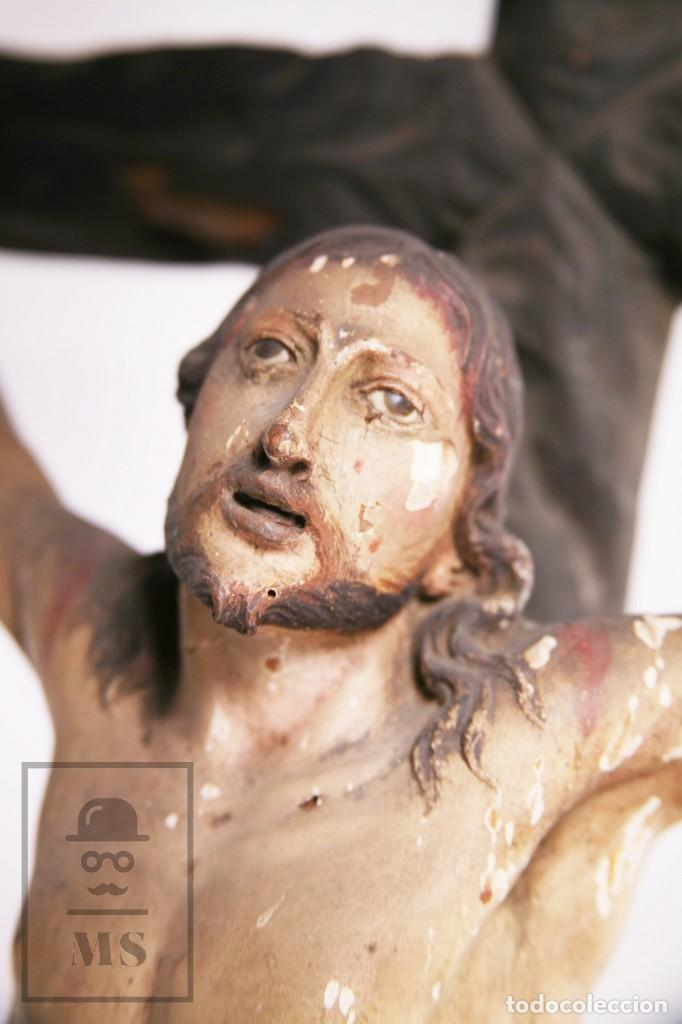 Arte: Antigua Escultura S. XIX / Talla Gran Tamaño Madera Policromada - Cristo Crucificado - Alt. 121 cm - Foto 4 - 195362583