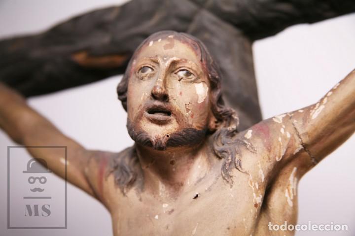 Arte: Antigua Escultura S. XIX / Talla Gran Tamaño Madera Policromada - Cristo Crucificado - Alt. 121 cm - Foto 5 - 195362583