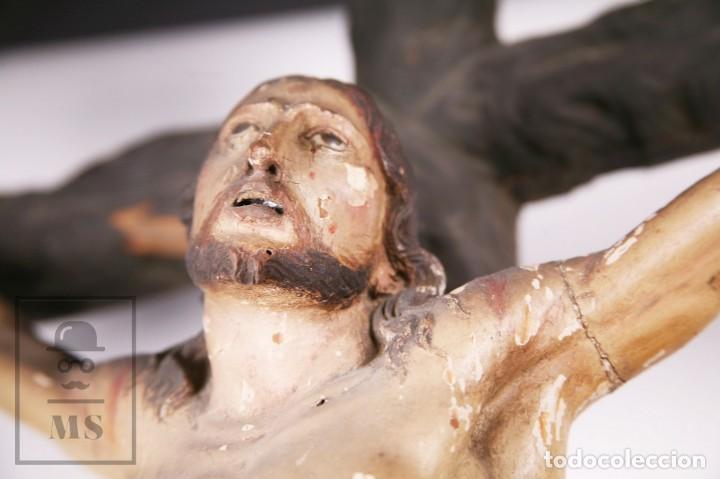 Arte: Antigua Escultura S. XIX / Talla Gran Tamaño Madera Policromada - Cristo Crucificado - Alt. 121 cm - Foto 6 - 195362583