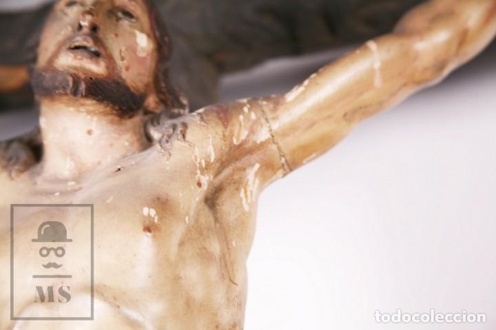 Arte: Antigua Escultura S. XIX / Talla Gran Tamaño Madera Policromada - Cristo Crucificado - Alt. 121 cm - Foto 7 - 195362583