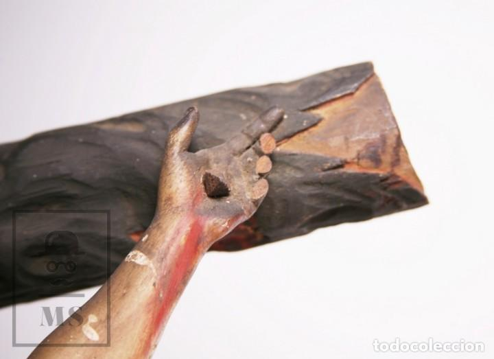 Arte: Antigua Escultura S. XIX / Talla Gran Tamaño Madera Policromada - Cristo Crucificado - Alt. 121 cm - Foto 8 - 195362583