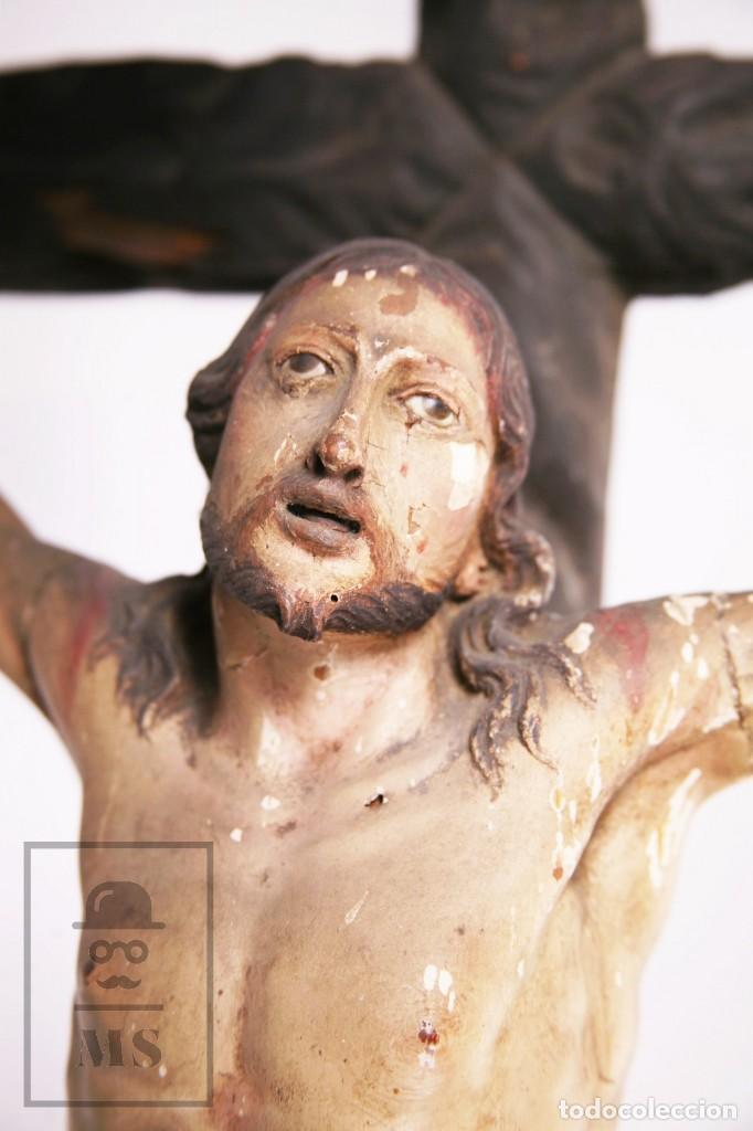 Arte: Antigua Escultura S. XIX / Talla Gran Tamaño Madera Policromada - Cristo Crucificado - Alt. 121 cm - Foto 10 - 195362583