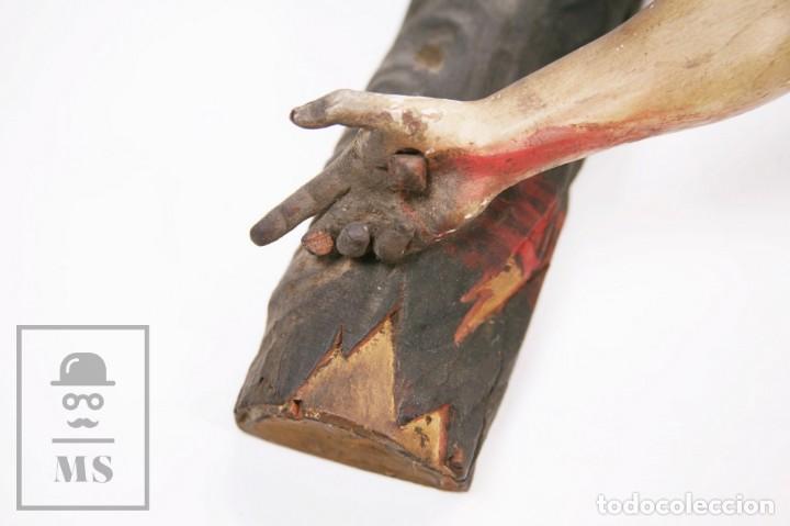 Arte: Antigua Escultura S. XIX / Talla Gran Tamaño Madera Policromada - Cristo Crucificado - Alt. 121 cm - Foto 11 - 195362583