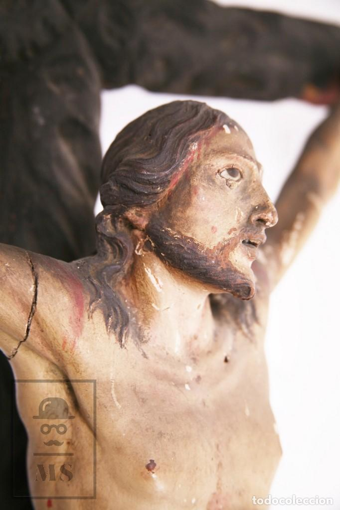 Arte: Antigua Escultura S. XIX / Talla Gran Tamaño Madera Policromada - Cristo Crucificado - Alt. 121 cm - Foto 12 - 195362583