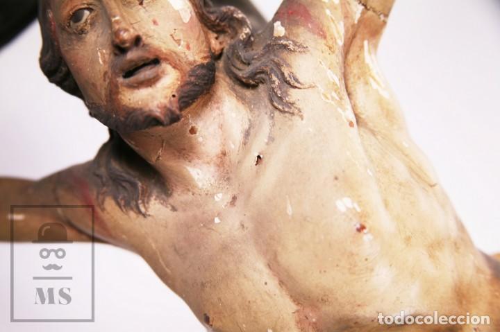 Arte: Antigua Escultura S. XIX / Talla Gran Tamaño Madera Policromada - Cristo Crucificado - Alt. 121 cm - Foto 13 - 195362583