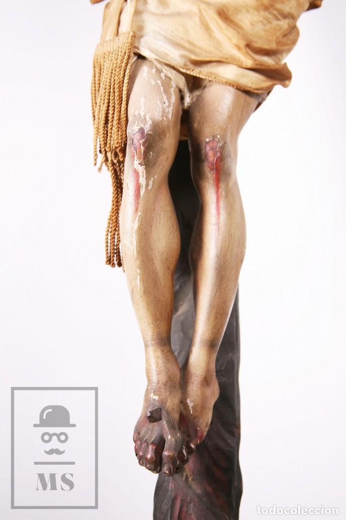 Arte: Antigua Escultura S. XIX / Talla Gran Tamaño Madera Policromada - Cristo Crucificado - Alt. 121 cm - Foto 14 - 195362583
