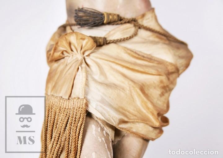 Arte: Antigua Escultura S. XIX / Talla Gran Tamaño Madera Policromada - Cristo Crucificado - Alt. 121 cm - Foto 16 - 195362583