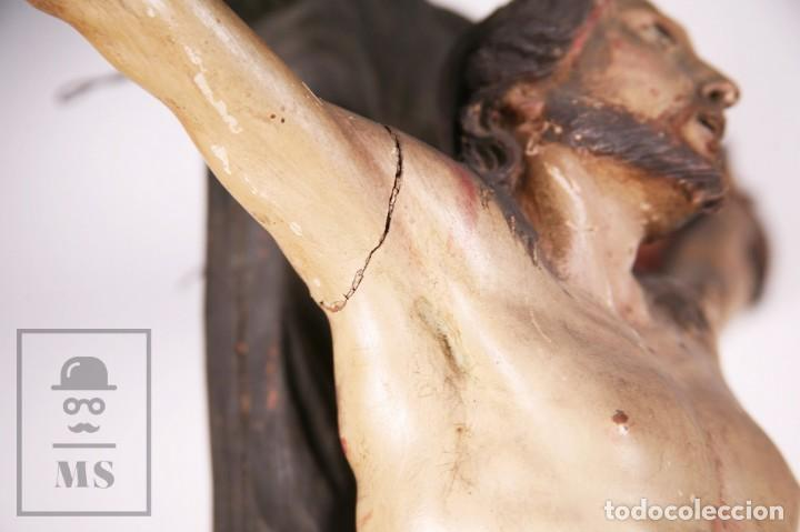 Arte: Antigua Escultura S. XIX / Talla Gran Tamaño Madera Policromada - Cristo Crucificado - Alt. 121 cm - Foto 17 - 195362583