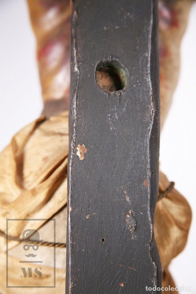Arte: Antigua Escultura S. XIX / Talla Gran Tamaño Madera Policromada - Cristo Crucificado - Alt. 121 cm - Foto 18 - 195362583