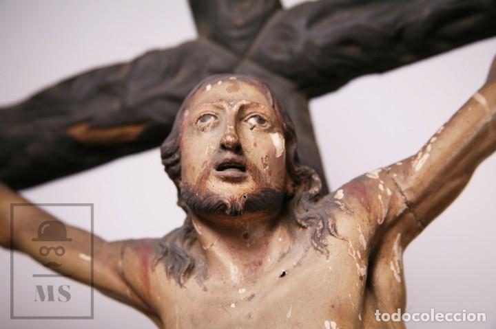 Arte: Antigua Escultura S. XIX / Talla Gran Tamaño Madera Policromada - Cristo Crucificado - Alt. 121 cm - Foto 19 - 195362583