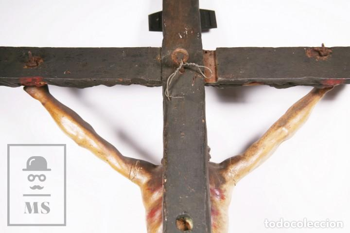 Arte: Antigua Escultura S. XIX / Talla Gran Tamaño Madera Policromada - Cristo Crucificado - Alt. 121 cm - Foto 20 - 195362583