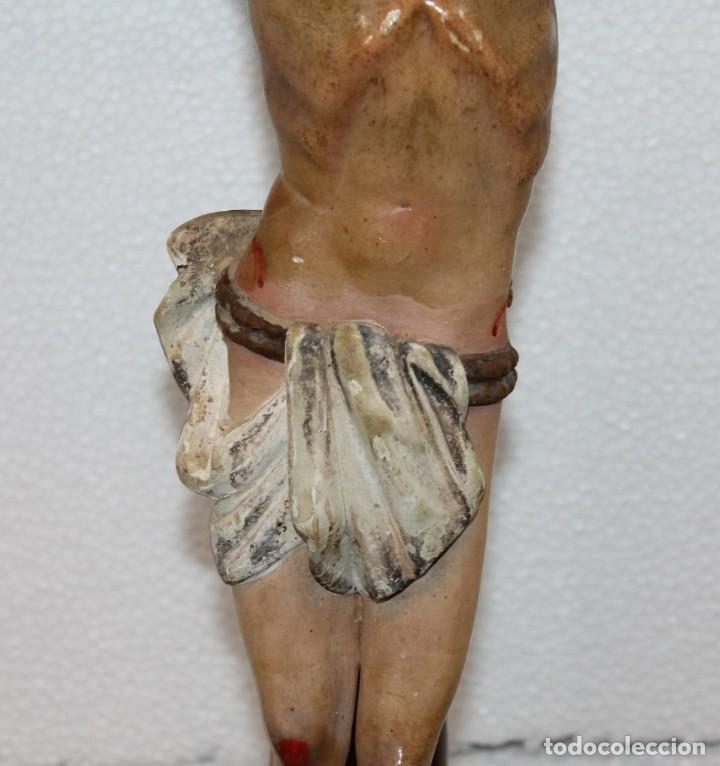 Arte: CRISTO CRUCIFIJO DE TALLA ISABELINO EN MADERA POLICROMADA A MANO DEL SIGLO XIX - Foto 11 - 195369768