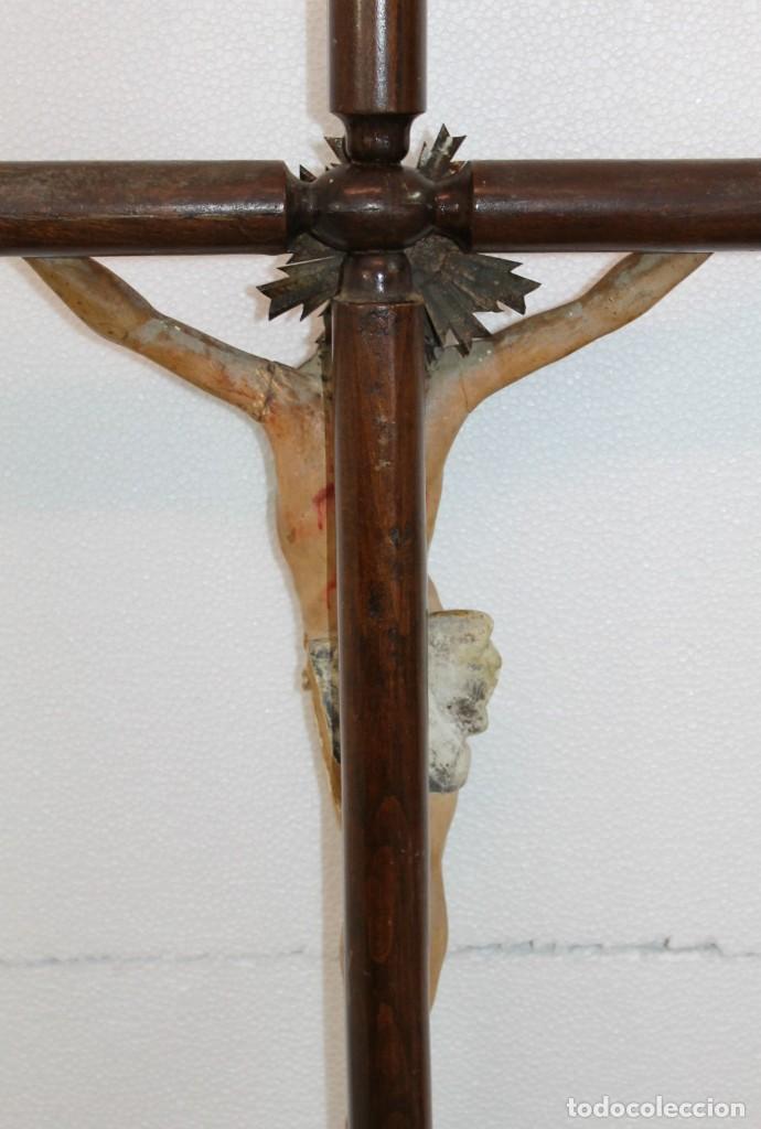 Arte: CRISTO CRUCIFIJO DE TALLA ISABELINO EN MADERA POLICROMADA A MANO DEL SIGLO XIX - Foto 19 - 195369768