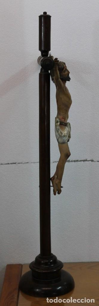 Arte: CRISTO CRUCIFIJO DE TALLA ISABELINO EN MADERA POLICROMADA A MANO DEL SIGLO XIX - Foto 21 - 195369768