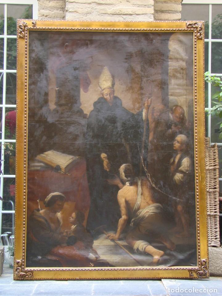 CUADRO SIGLO XVIII. GRAN FORMATO. ÓLEO-LIENZO COPIA DE ÉPOCA DE MURILLO. (Arte - Arte Religioso - Pintura Religiosa - Oleo)