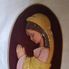 Arte: VIRGEN REZANDO - SELLO - TALLER ARTE RELIGIOSO OLOT - CUADRO OVAL EN RELIEVE - ANTIGUO TALLER OLOT. Lote 195398322