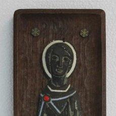 Arte: ESMALTE RELIGIOSO DE SANT JORDI / SAN JORGE CON MARCO DE MADERA FIRMADO JOSEP Mª NUET MARTÍ. Lote 195404202