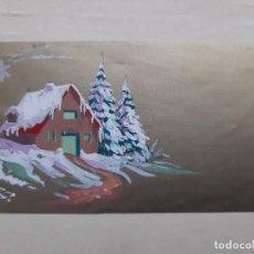 Arte: ANTIGUA FELICITACION NAVIDEÑA PINTADA A MANO CON ACUARELA. Lote 195420400