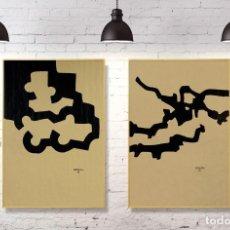 Arte: LOTE 2 LITOGRAFÍAS DE CHILLIDA SOBRE PAPEL CRAFT. Lote 195423623