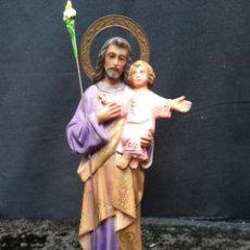 Arte: ANTIGUA FIGURA DE OLOT? SAN JOSÉ CON EL NIÑO JESÚS. Lote 195432717