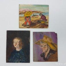 Arte: ROSER VILAR AYMERICH ( 1925-2011 ) 3 OLEOS PEQUEÑOS SOBRE TABLERO ( UNO AUTO RETRATO ). Lote 195452508