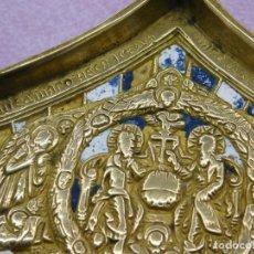 Arte: LIQUIDACIÓN: ICONO ORIGINAL RUSO DE BRONCE Y ESMALTES - FRAGMENTO DE TRIPTICO SIGLO XIX RUSIA BRONCE. Lote 195480997