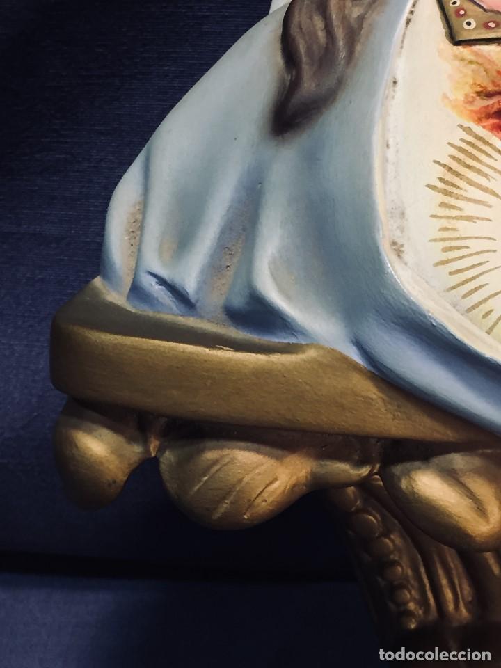 Arte: VIRGEN DEL SAGRADO CORAZON ESCAYOLA OJOS VIDRIO POLICROMADA MENSULA TIPO OLOT 23X21CMS - Foto 9 - 195481290