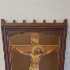 Arte: CUADRO DE JESUCRISTO CRUCIFICADO EN LÁMINA DE METAL EN RELIEVE. FIRMADO POR JOSZ. BRUX. Lote 195482688