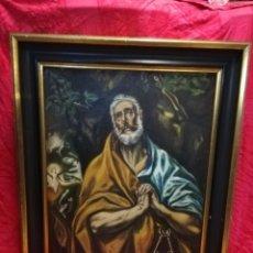 Arte: SAN PEDRO COPIA DEL GRECO OLEO 80X70CM ANTIGUO. Lote 195494757