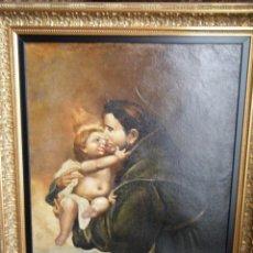 Arte: ÓLEO CON LA IMAGEN DE SAN ANTONIO CON EL NIÑO JESÚS (FINALES SIGLO XVIII). Lote 195508471