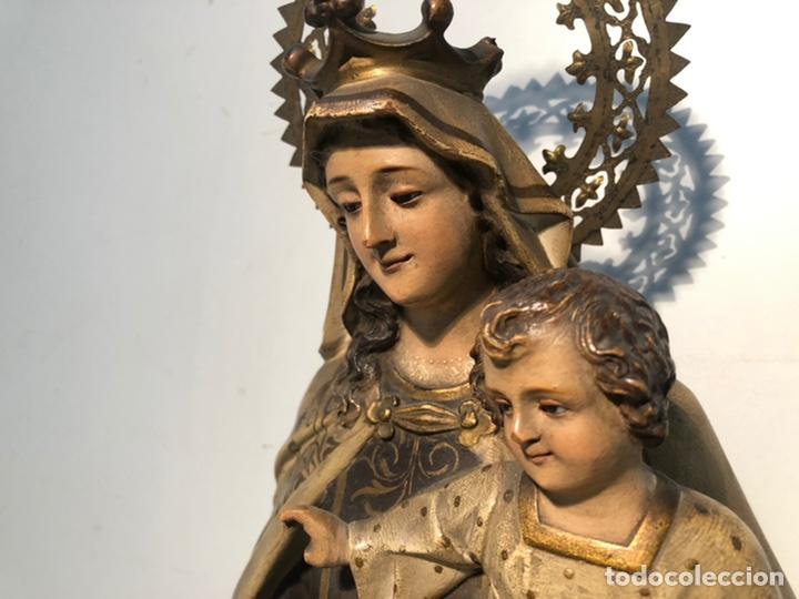 Arte: PRECIOSA VIRGEN DEL CARMEN DE PASTA DE MADERA ANTIGUA. SELLO LAS ARTES RELIGIOSAS OLOT, SIGLO XIX. - Foto 3 - 195521093