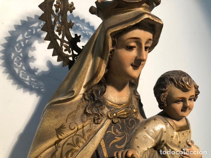 Arte: PRECIOSA VIRGEN DEL CARMEN DE PASTA DE MADERA ANTIGUA. SELLO LAS ARTES RELIGIOSAS OLOT, SIGLO XIX. - Foto 4 - 195521093