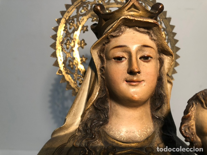 Arte: PRECIOSA VIRGEN DEL CARMEN DE PASTA DE MADERA ANTIGUA. SELLO LAS ARTES RELIGIOSAS OLOT, SIGLO XIX. - Foto 5 - 195521093