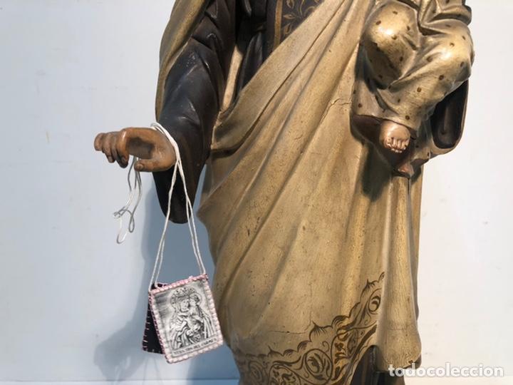 Arte: PRECIOSA VIRGEN DEL CARMEN DE PASTA DE MADERA ANTIGUA. SELLO LAS ARTES RELIGIOSAS OLOT, SIGLO XIX. - Foto 8 - 195521093