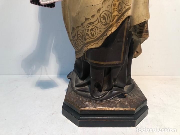 Arte: PRECIOSA VIRGEN DEL CARMEN DE PASTA DE MADERA ANTIGUA. SELLO LAS ARTES RELIGIOSAS OLOT, SIGLO XIX. - Foto 9 - 195521093
