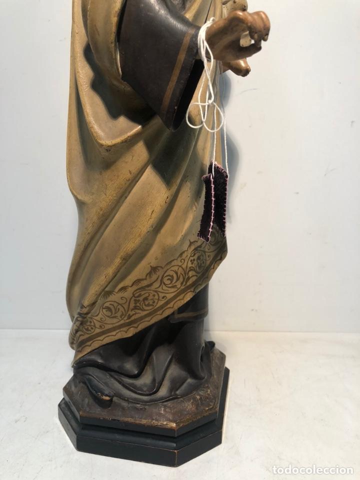 Arte: PRECIOSA VIRGEN DEL CARMEN DE PASTA DE MADERA ANTIGUA. SELLO LAS ARTES RELIGIOSAS OLOT, SIGLO XIX. - Foto 11 - 195521093