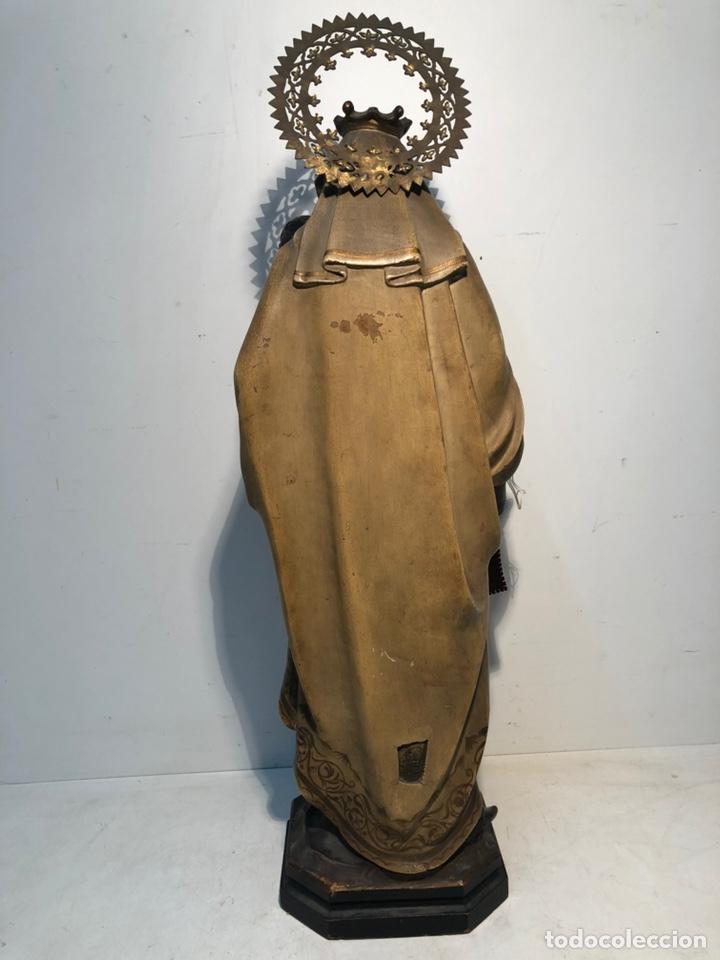 Arte: PRECIOSA VIRGEN DEL CARMEN DE PASTA DE MADERA ANTIGUA. SELLO LAS ARTES RELIGIOSAS OLOT, SIGLO XIX. - Foto 12 - 195521093