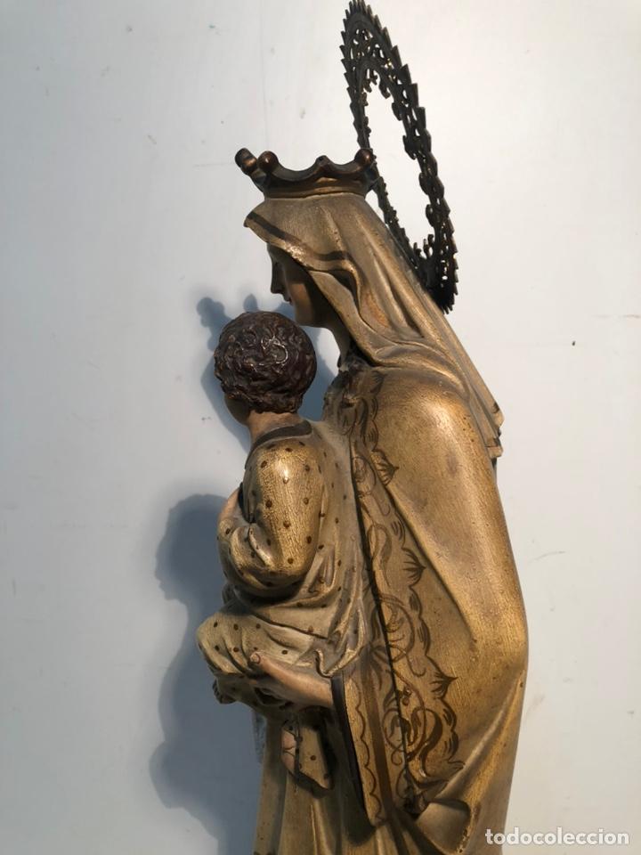 Arte: PRECIOSA VIRGEN DEL CARMEN DE PASTA DE MADERA ANTIGUA. SELLO LAS ARTES RELIGIOSAS OLOT, SIGLO XIX. - Foto 13 - 195521093