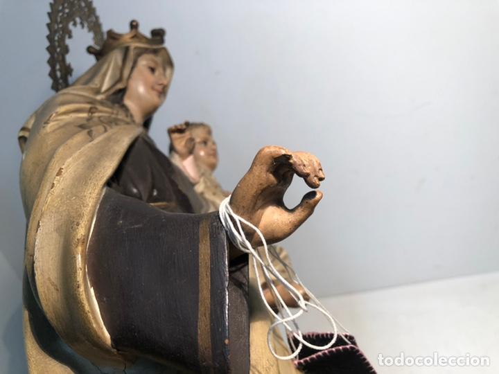 Arte: PRECIOSA VIRGEN DEL CARMEN DE PASTA DE MADERA ANTIGUA. SELLO LAS ARTES RELIGIOSAS OLOT, SIGLO XIX. - Foto 19 - 195521093
