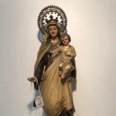 Arte: PRECIOSA VIRGEN DEL CARMEN DE PASTA DE MADERA ANTIGUA. SELLO LAS ARTES RELIGIOSAS OLOT, SIGLO XIX. . Lote 195521093