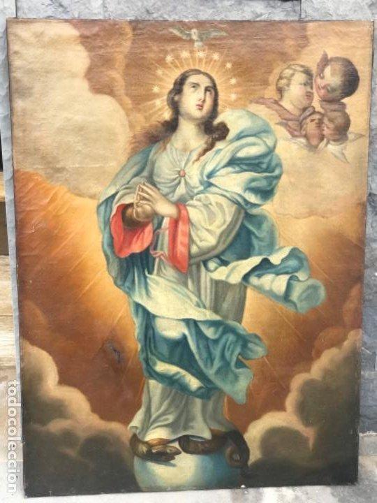 INMACULADA CONCEPCIÓN OLEO SOBRE LIENZO ESCUELA ANDALUZA XVIII. (Arte - Arte Religioso - Pintura Religiosa - Oleo)
