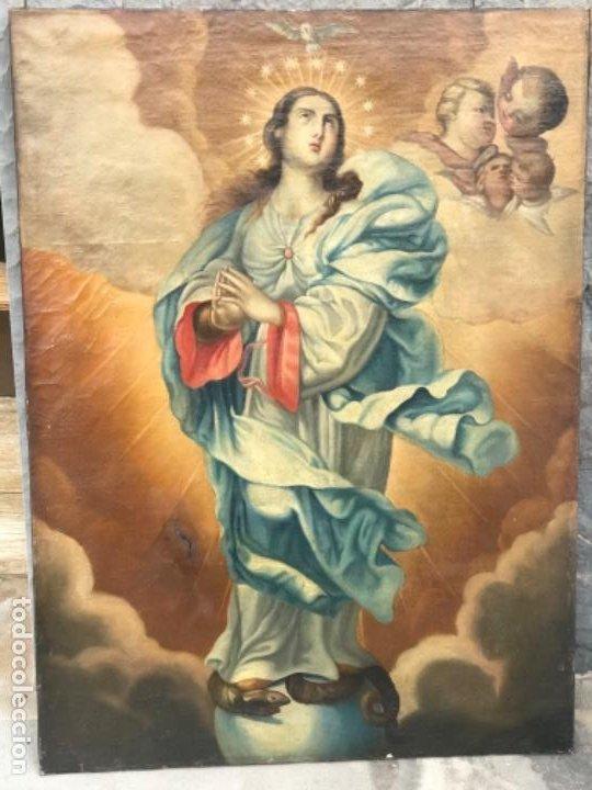 Arte: INMACULADA CONCEPCIÓN OLEO SOBRE LIENZO ESCUELA ANDALUZA XVIII. - Foto 7 - 195535143