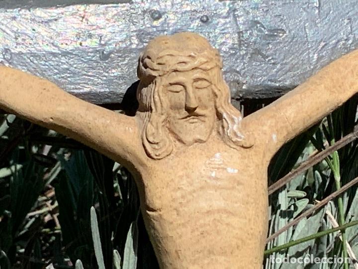 Arte: EXCEPCIONAL CRISTO en pasta de madera o estuco. Talleres De Olot. Pieza unica realizada por encargo. - Foto 2 - 195543971