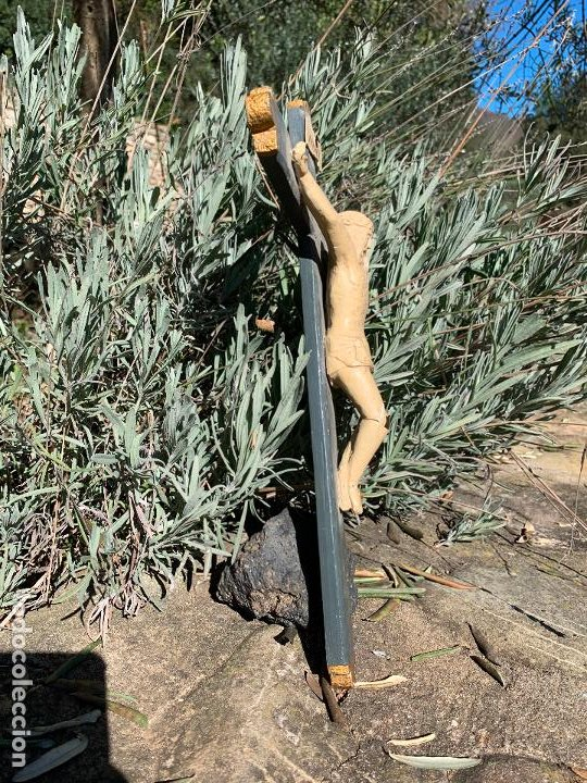 Arte: EXCEPCIONAL CRISTO en pasta de madera o estuco. Talleres De Olot. Pieza unica realizada por encargo. - Foto 4 - 195543971