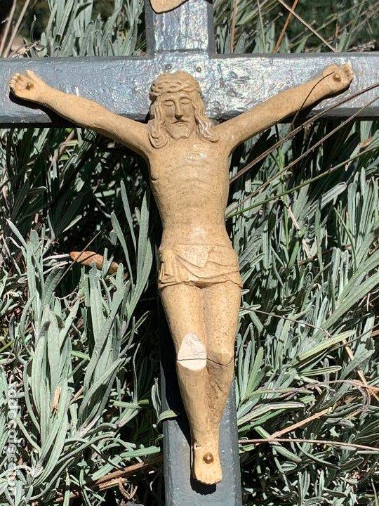 Arte: EXCEPCIONAL CRISTO en pasta de madera o estuco. Talleres De Olot. Pieza unica realizada por encargo. - Foto 6 - 195543971